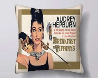 Audrey Hepburn breakfast at tiffany's  movie -Cushion Cover Case Or Stuffed With Insert