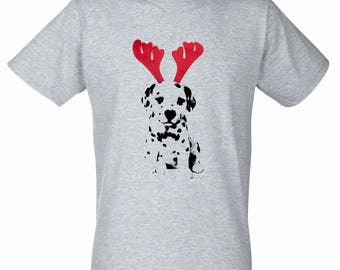 Cute Christmas Reindeer Damlamtian Puppy T-Shirt