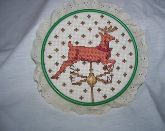 Weathervane Reindeer Cross Stitch Rooftop Framed Ruffle Border