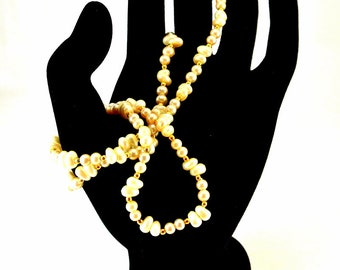 Marvella Pearl and Gold Bead Necklace 26 Inch Necklace Signed Necklace White Pearl Necklace