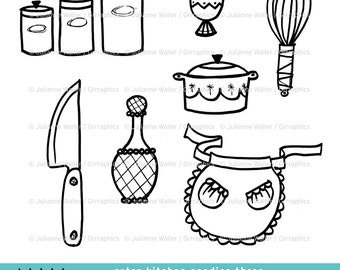 Retro Kitchen Goodies Black and White Clipart: Cannisters, egg cup, whisk, casserole dish, chef knife, decanter, apron