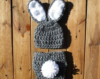 Grey Infant Newborn Baby Bunny Photo Prop Outfit Bunny Hat And Diaper Cover Set Crochet Baby Outfit Bunny Outfit For Newborn Photo Prop