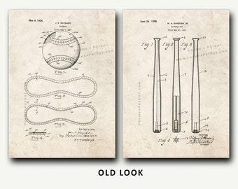 Patent Print - Baseball Patent and Baseball Bat Patent Set - Wall Art Poster
