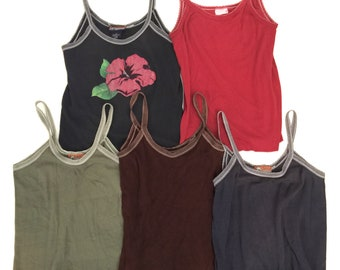 Lot (5) Vintage Urban Outfitters Bulldog Sparkle Tank Top Camisole 90s USA Made