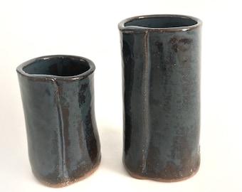 Ceramic Bud Vase Set of 2 Pottery Flower Vases or Fresh Herb Holder, Rustic Blue Home Decor
