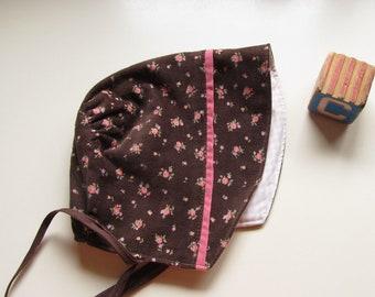 Cool Weather Bonnet, Brown Baby Bonnet, Vintage Fabric Bonnet, Winter Bonnet, Bon53