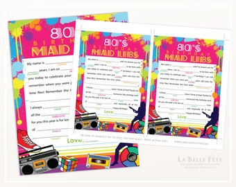 80's BIRTHDAY PARTY Mad Libs Game / printable DIY party game