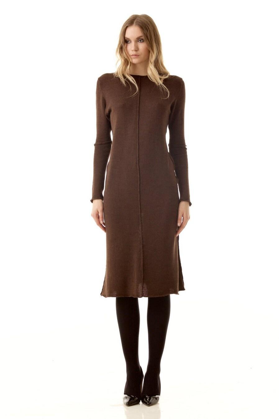 Braune knielange Kleid Merino Wolle gestrickte Kleid