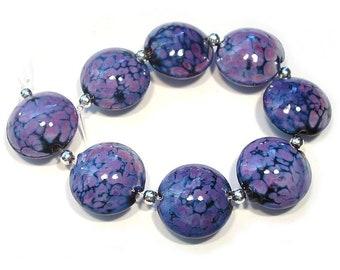 Small Purple Rose Lentils, Handmade Glass  Lampwork  Beads