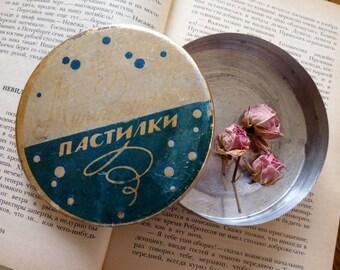 Metal round candy box, vintage tin box, soviet vintage tin box, vintage candy box Menthol pastils, made in USSR