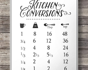 Kitchen conversions, conversion chart, Printable kitchen, measurements, Printable kitchen art, modern farmhouse, aspiring chef, cooking  art