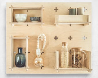 Pegboard BIG SET, Bookcase, Pegboard, Modern Plywood Wall Peg, Open Shelving, Office Shelves, Display Shelf