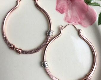 Copper Hoop Earrings, Rustic Earrings, Hammered Copper, Boho Earrings, Bohemian Earrings, Copper Jewelry