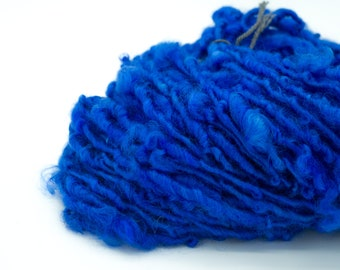 "Handspun Yarn/ ""Blue""/ Art Yarn/ Lock Spun/ Single Yarn/ Handspun Locks/ Art Yarn/ Blue Yarn/ Bulky Yarn/ Wool Locks"