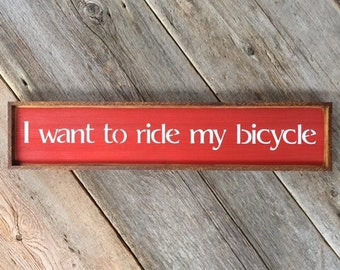 Bicycle Race Song Lyrics, Handmade Wood Sign, Bike Decor, Bike Wall Art, Cyclist Wall Decor, Gift for Bicyclists, Queen Song Lyrics, Rock