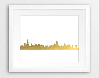 Chicago Skyline Printable File, Chicago Cityscape Gold Foil Texture - Modern Wall Art Home Office Decor Digital Print Instant Download Art