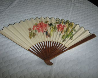 "12"" Chinese Hand Held Tan Floral Fan Brown Handle"