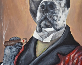 16x20 in Outfit or Costume painted pet portrait sample in COSTUME or OUTFIT size 16x20