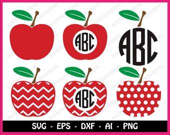 Chevron apple svg, chevron apple monogram svg, teacher svg, apple svg, teacherlife svg, svg files, svg, cricut, silhouette, instant download