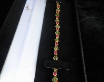 Vintage 14k Yellow Gold Emerald and Ruby Tennis Bracelet 3ct TGW