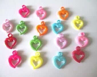 16 pendants acrylic heart mix color ab color 20 x 14 mm