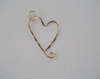 Heart Pendant, Hammered Sterling Silver, Floating Heart