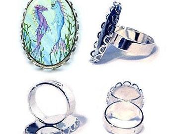 Mermaid Cat Ring Sea Dragon Mercat Silver Cat Ring Sunrise Fantasy Cat Art Cameo Ring 25x18mm Gift for Cat Lovers Jewelry