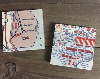 Vintage Washington D.C. Map Magnets featuring Washington National Airport and the Mall, Set of 2