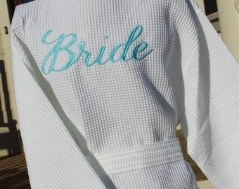 Bridesmaid Robes, Monogrammed Bridesmaid Robes, Bridesmaid Gift, Bridal Party Robes, Bride Robe, Thigh Length Waffle Weave Bridesmaid Robe