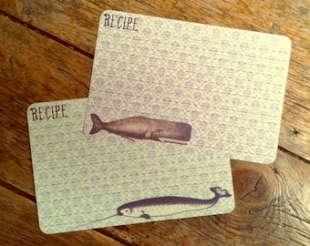 Handmade Vintage Style Old Fashioned Narwhal & Whale Recipe Cards from Curious London