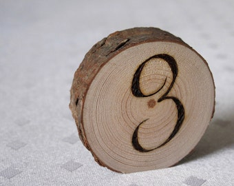 Wood Slice Table Numbers, Wedding Table Numbers, Rustic Table Numbers