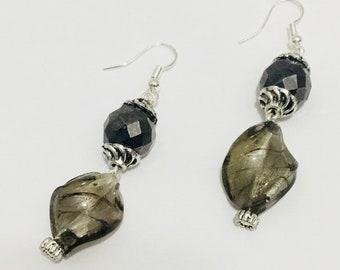 Swirling black glass earrings
