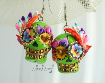 Skull polymer clay the day of the dead skulls green earrings