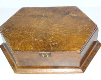 Antique Wooden SEWING WORK BOX Six Sided Wood