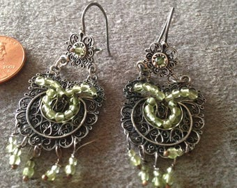 Oaxaca Filagree earrings with peridot beads