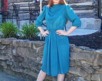 Teal & Black Houndstooth Vintage Chiffon Sheer Dress Hipster Retro