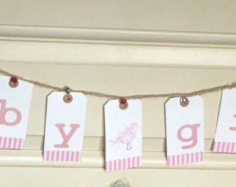 Baby Girl Bunting, pink and white banner, shower or nursery decoration, it's a girl, baby shower decorations, baby reveal