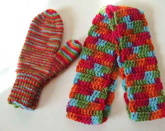 Handknit Mittens and Crocheted Scarf - Bright and Colorful