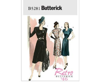 Butterick 5281 - Square-Neck Dresses and Belt [out of print]