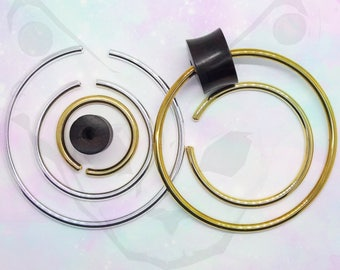 Pair of Brass Silver Plated Hoops For Plugs Tunnels