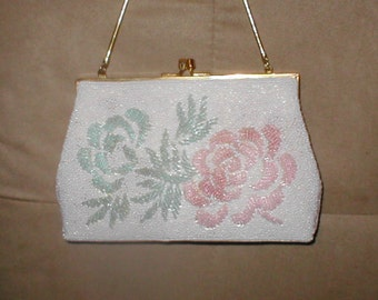 Vintage Floral Beaded Evening Purse coral & green