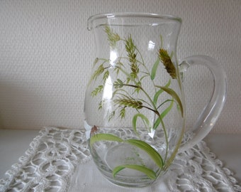 Hand-painted glass jug : grasses and dragon-fly