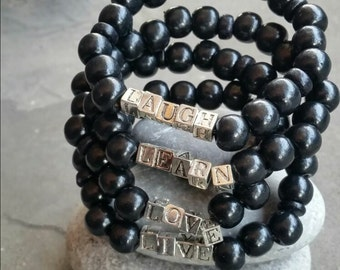 Live, Love, Laugh, Learn black wooden bracelet