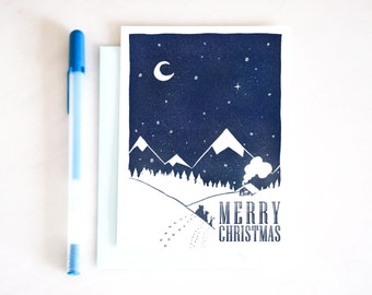 "Christmas card ""MERRY CHRISTMAS"" 10 x 15 cm and envelope - illustration for children's room"