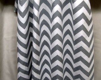 "PAIR gray and white chevron Drapery Panels 84"" long"