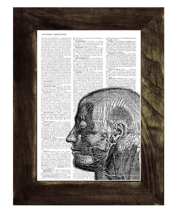 Head Anatomy Study - Doctors gift- Dictionary Book Page Print - Human Anatomy Art - Gift for medical student  SKA082