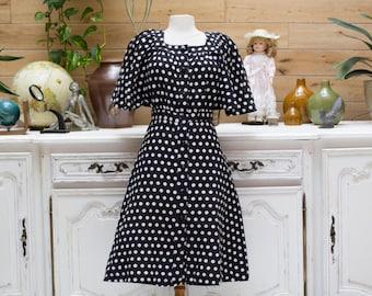 Vintage 1960's Style Black and White Polka Dot Dress
