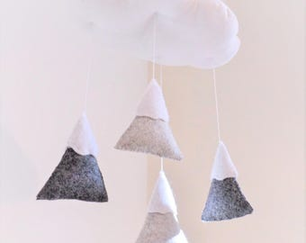 New - Mountains baby mobile - gender neutral nursery decoration in grey and white