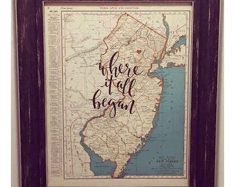 New Hampshire & New Jersey | personalized calligraphy map | original vintage map | calligraphy map | custom calligraphy map