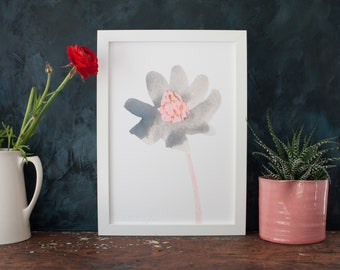 Single bloom flower art, cotton paper, gift for her, abstract floral artwork, giclée print, wall art, watercolour flower, japanese inspired